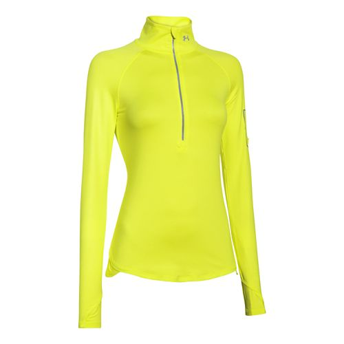 Womens Under Armour Fly Fast 1/2 Zip Long Sleeve Technical Tops - Flash Light XL ...
