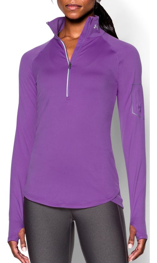 Womens Under Armour Fly Fast 1/2 Zip Long Sleeve Technical Tops - Mega Magenta M ...