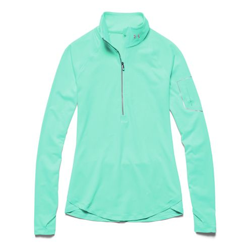 Womens Under Armour Fly Fast Long Sleeve Half Zip Technical Tops - Crystal/Crystal L
