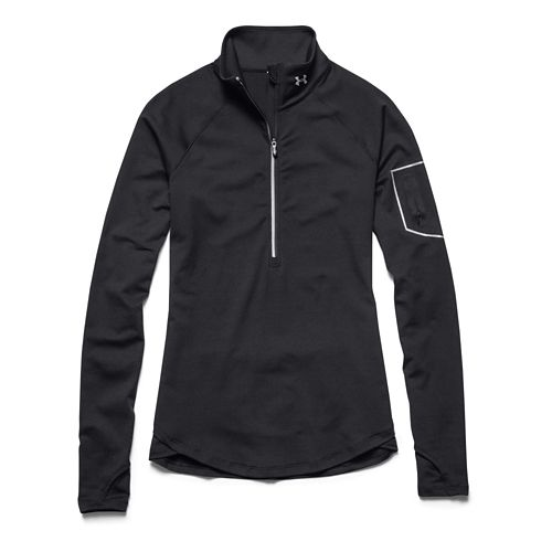 Womens Under Armour Fly Fast Long Sleeve Half Zip Technical Tops - Black/Black XS