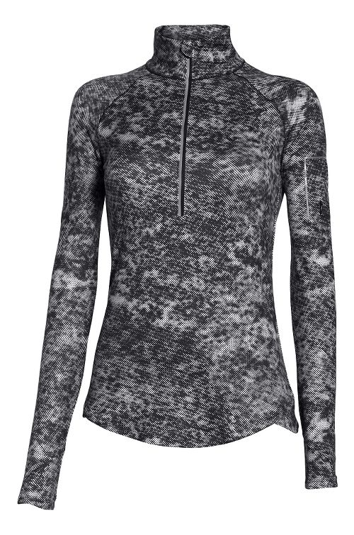 Womens Under Armour Fly Fast Printed 1/2 Zip Long Sleeve Technical Tops - Black/Reflective XS