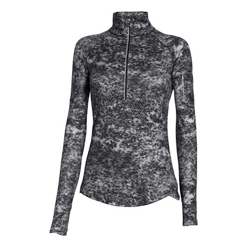 Womens Under Armour Fly Fast Printed 1/2 Zip Long Sleeve Technical Tops - Black/Reflective XS ...