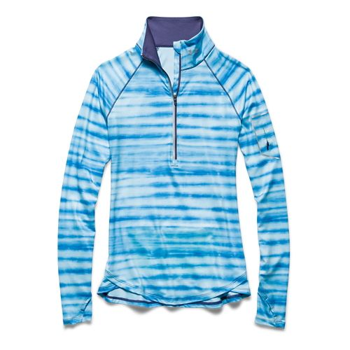Womens Under Armour Fly Fast Printed Long Sleeve Half Zip Technical Tops - Island Blues/Blue ...