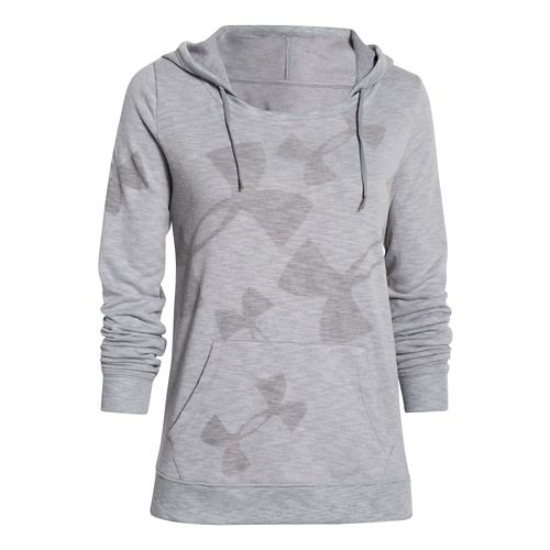 Womens Under Armour Kaleidalogo Pullover Warm Up Hooded Jackets - True Gray Heather L