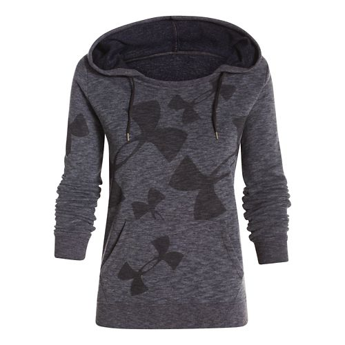 Womens Under Armour Kaleidalogo Pullover Warm Up Hooded Jackets - Carbon Heather S