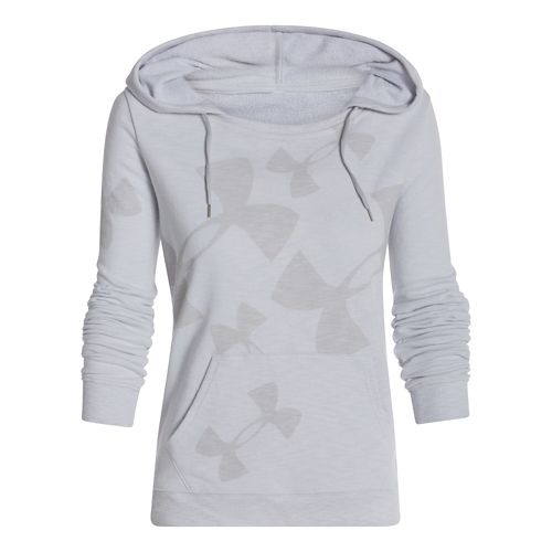 Womens Under Armour Kaleidalogo Pullover Warm Up Hooded Jackets - Silver Heather M