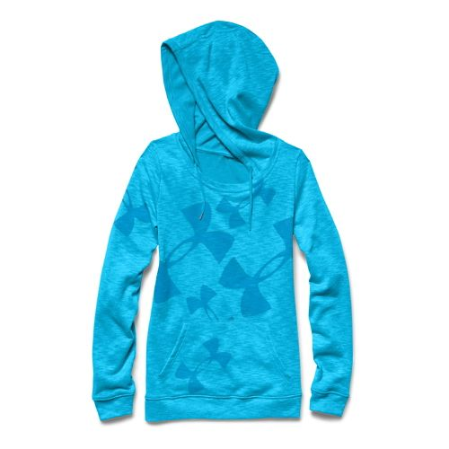 Womens Under Armour Kaleidalogo Pullover Warm Up Hooded Jackets - Island Blues XS