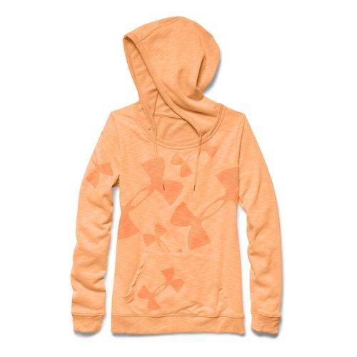Womens Under Armour Kaleidalogo Pullover Warm Up Hooded Jackets - Afterglow XS
