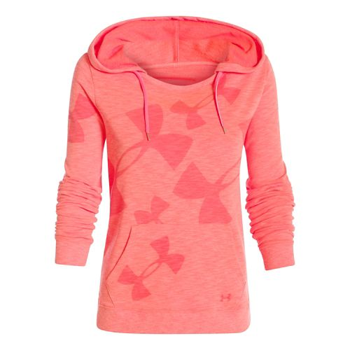 Womens Under Armour Kaleidalogo Pullover Warm Up Hooded Jackets - After Burn S