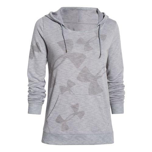 Womens Under Armour Kaleidalogo Pullover Warm Up Hooded Jackets - Island Blues XL