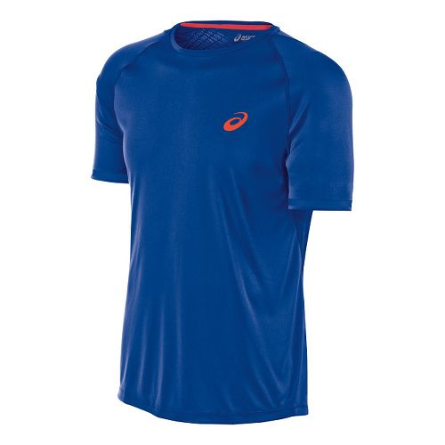 Mens ASICS Athlete Graphic Short Sleeve Technical Tops - Air Force Blue L