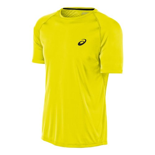 Mens ASICS Athlete Graphic Short Sleeve Technical Tops - Safety Yellow L