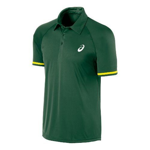 Mens ASICS Athlete Lightweight Polo Short Sleeve Technical Tops - Oak Green XL