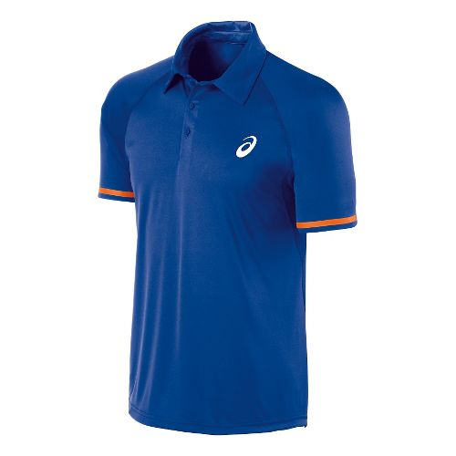 Mens ASICS Athlete Lightweight Polo Short Sleeve Technical Tops - Air Force Blue M