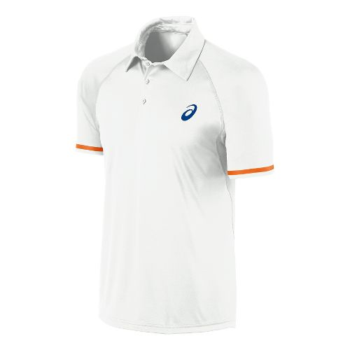 Mens ASICS Athlete Lightweight Polo Short Sleeve Technical Tops - Real White L