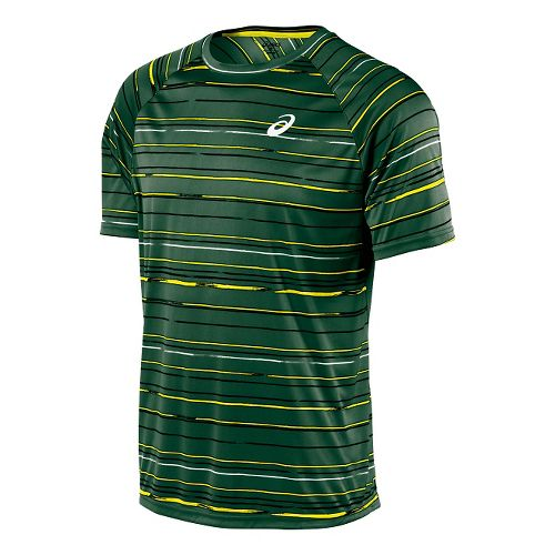 Mens ASICS Club Graphic Tee Short Sleeve Technical Tops - Stripe Oak Green M