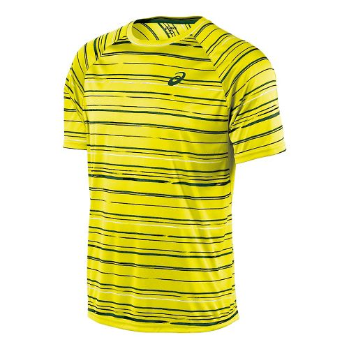 Mens ASICS Club Graphic Tee Short Sleeve Technical Tops - Stripe Yellow XXL