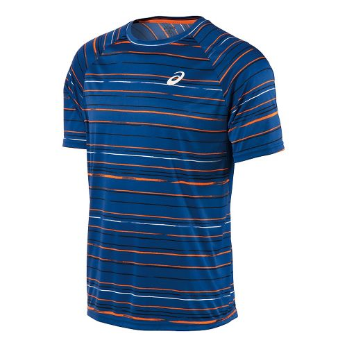 Mens ASICS Club Graphic Tee Short Sleeve Technical Tops - Stripe Blue L