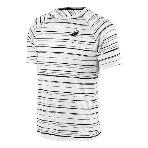 Mens ASICS Club Graphic Short Sleeve Technical Tops - Stripe Real White M