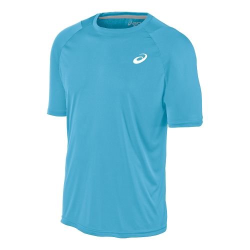 Mens ASICS Club Tee Short Sleeve Technical Tops - Blue Moon S