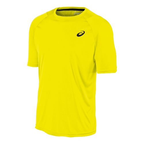 Mens ASICS Club Tee Short Sleeve Technical Tops - Safety Yellow L