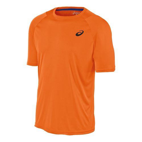 Mens ASICS Club Tee Short Sleeve Technical Tops - Shocking Orange L