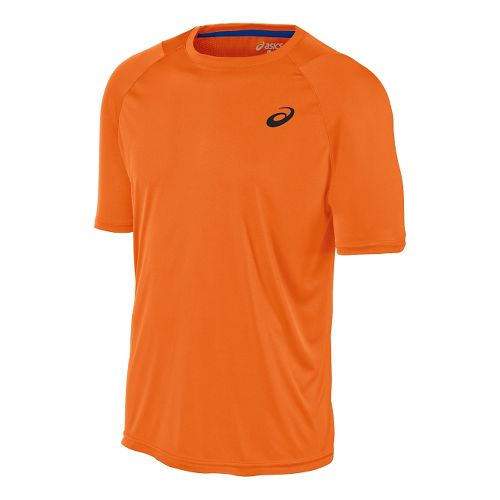 Mens ASICS Club Tee Short Sleeve Technical Tops - Shocking Orange S