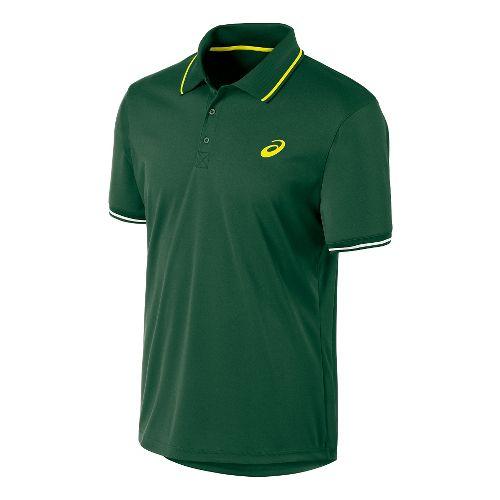Mens ASICS Club Polo Short Sleeve Technical Tops - Oak Green L