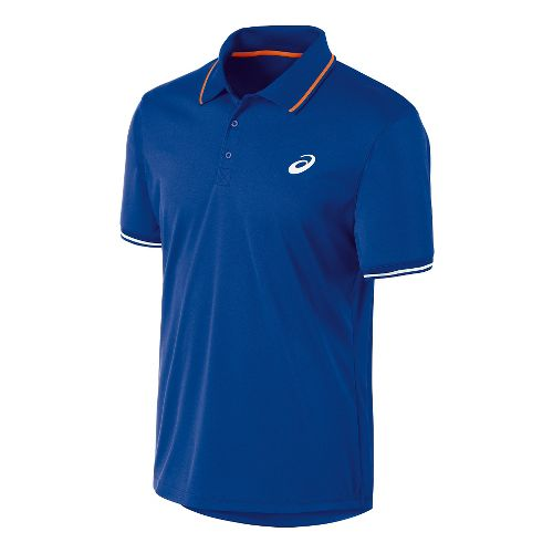 Mens ASICS Club Polo Short Sleeve Technical Tops - Air Force Blue S