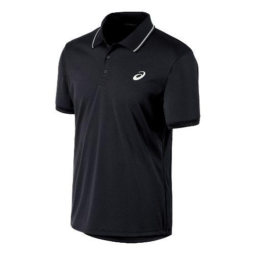 Mens ASICS Club Polo Short Sleeve Technical Tops - Black L