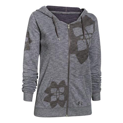 Womens Under Armour Kaleidalogo Full-Zip Warm Up Hooded Jackets - Carbon Heather XL