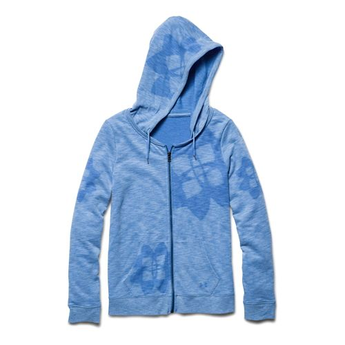 Womens Under Armour Kaleidalogo Full-Zip Warm Up Hooded Jackets - Picasso Blue L