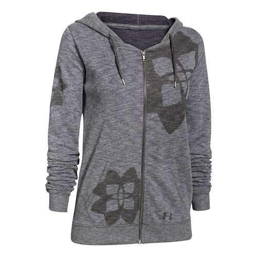 Womens Under Armour Kaleidalogo Full-Zip Warm Up Hooded Jackets - Carbon Heather XL