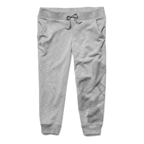 Womens Under Armour Kaleidalogo Capri Pants - True Gray Heather XL