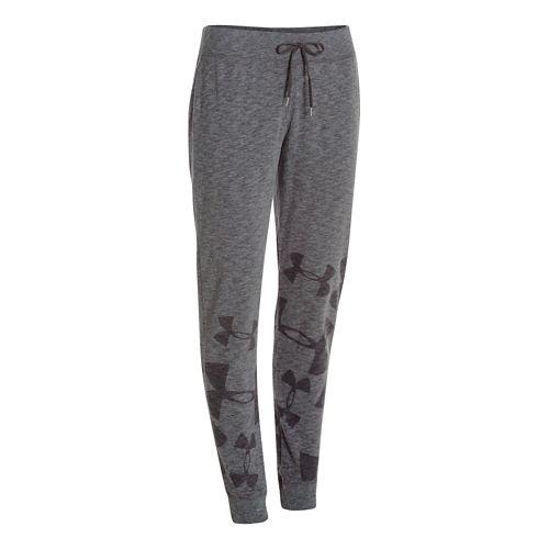 Womens Under Armour Kaleidalogo Full Length Pants - Carbon Heather XL