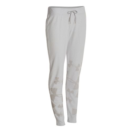 Womens Under Armour Kaleidalogo Full Length Pants - Silver Heather M