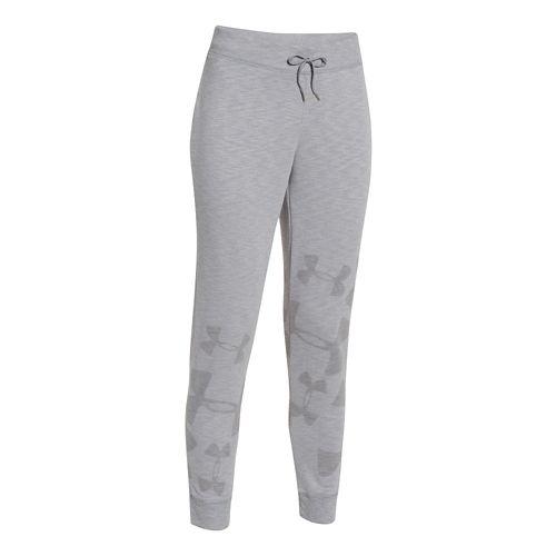 Womens Under Armour Kaleidalogo Full Length Pants - Carbon Heather L