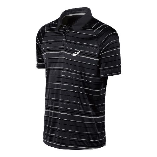 Mens ASICS Club Graphic Polo Short Sleeve Technical Tops - Black L