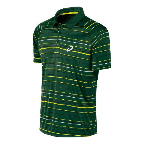 Mens ASICS Club Graphic Polo Short Sleeve Technical Tops - Oak Green XXL