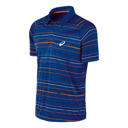 Mens ASICS Club Graphic Polo Short Sleeve Technical Tops - Air Force Blue XL