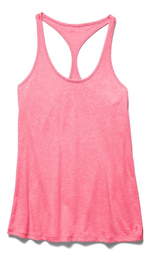 Womens Under Armour Charged Cotton Tri-Blend Ultimate Tank Technical Tops - Pink Shock M
