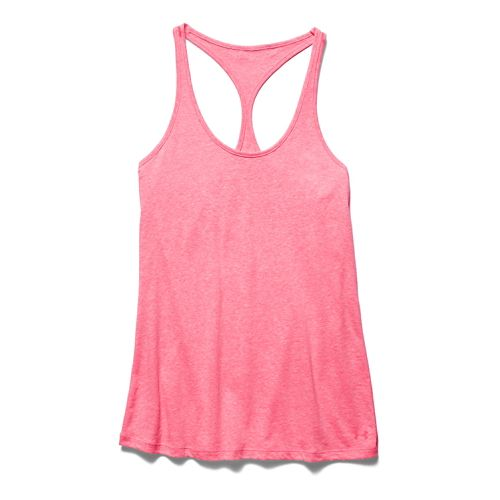 Womens Under Armour Charged Cotton Tri-Blend Ultimate Tank Technical Tops - Pink Shock L