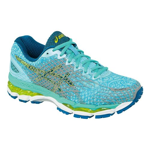 Womens ASICS GEL-Nimbus 17 Lite-Show Running Shoe - Aqua/Yellow 10