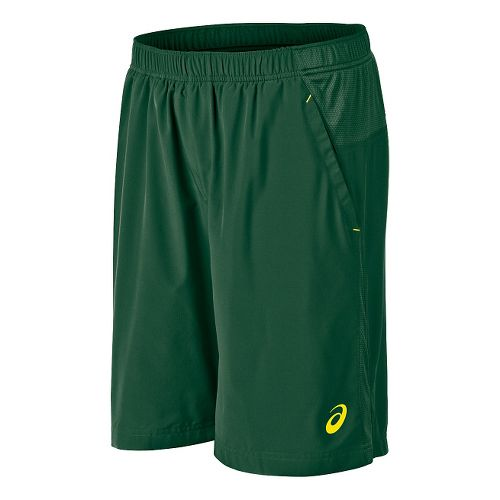 Mens ASICS Club Woven Unlined Shorts - Oak Green S