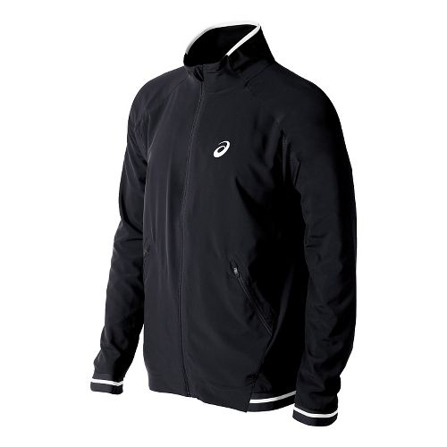 Mens ASICS Club Woven Warm Up Hooded Jackets - Black L