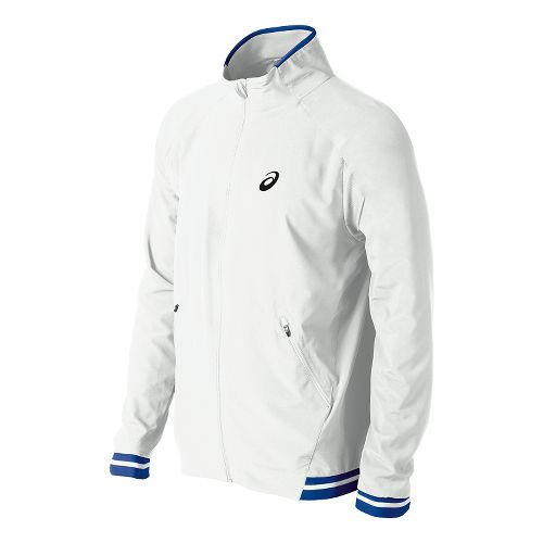 Mens ASICS Club Woven Warm Up Hooded Jackets - Real White S