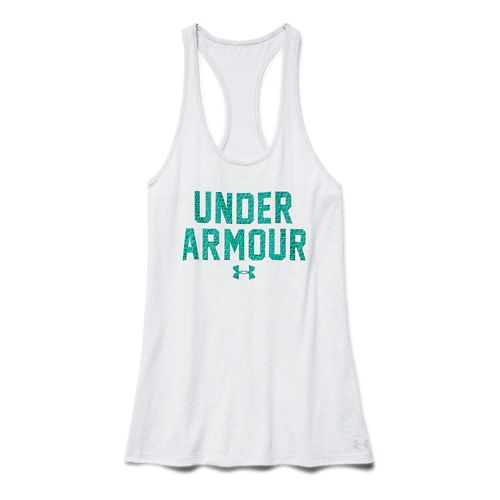 Womens Under Armour Charged Cotton Wordmark Tank Technical Tops - Silver Heather M