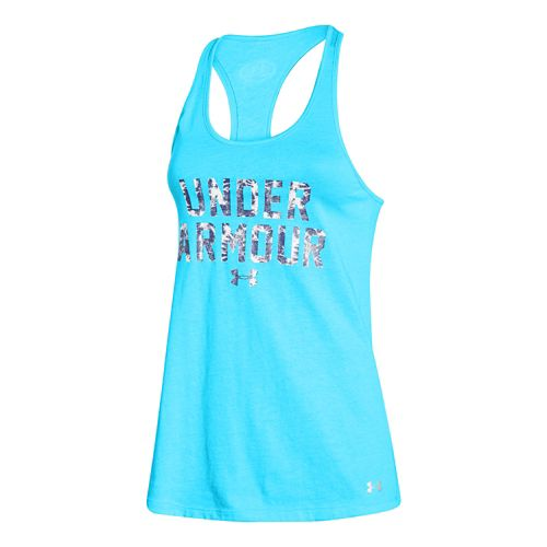 Womens Under Armour Charged Cotton Wordmark Tank Technical Tops - Island Blues M