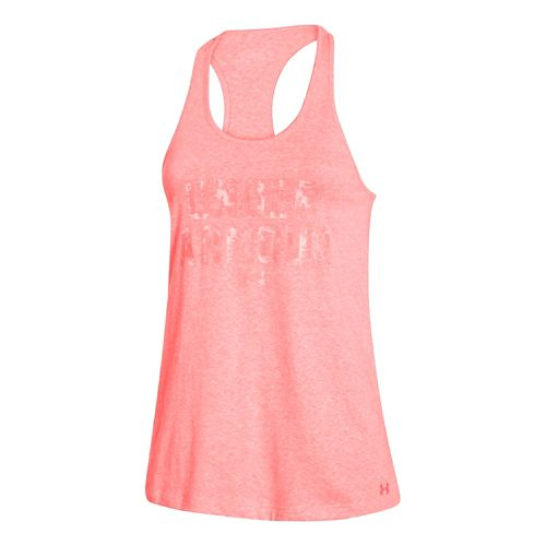 Womens Under Armour Charged Cotton Wordmark Tank Technical Tops - After Burn/Yellow M