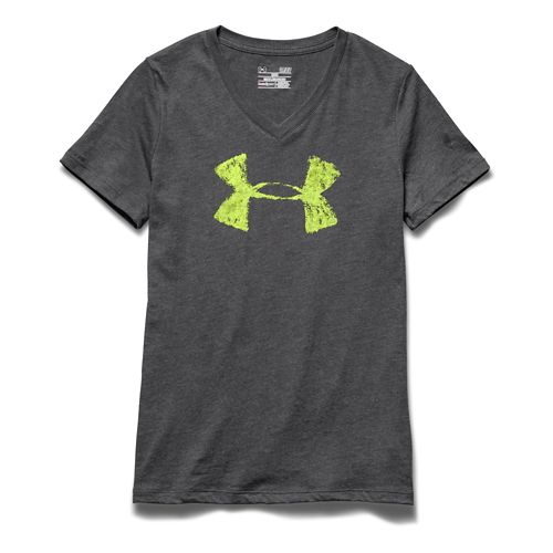 Womens Under Armour Charged Cotton Painted V-Neck Short Sleeve Technical Tops - Carbon Heather ...